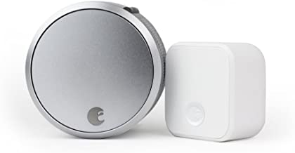 August Smart Lock Pro + Connect with Wi-Fi Bridge, Silver. Zwave, HomeKit & Alexa Compatible