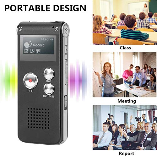 COOLEAD Dictaphone for Lectures Meetings&Class, 8GB Rechargeable Digital Voice Recorder with Double Sensitive Microphone and Built-in Speaker, MP3 Player Stereo Music, Portable Voice Recorders
