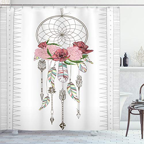 """Ambesonne Bohemian Shower Curtain, Hand Drawn Illustration of a Dreamcatcher Boho Form Design Feathers Flowers, Cloth Fabric Bathroom Decor Set with Hooks, 70"""" Long, Pale Rose"""