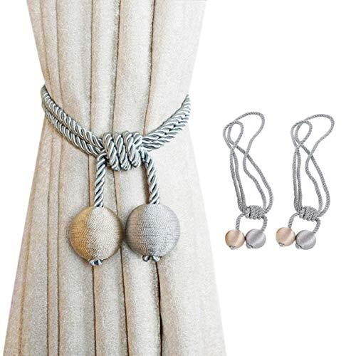 JieGuanG - Abrazaderas para cortina, pinzas para cortina, con hebillas, para decoración en casa, oficina, color gris y beige