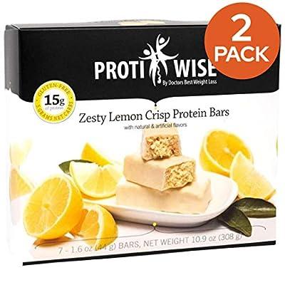 ProtiWise - High Protein Diet | Zesty Lemon Crisp | Low Calorie, Low Fat, Low Sugar - 2 Box Pack - 14 Units Total (5/Box)