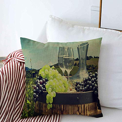 sherry-shop Kissenbezüge Weißwein Toskana Wein Obst Italien Tal Pflanze Flasche Weinberg Glas Auf Natur Garten Essen Trinken 20x20 Zoll