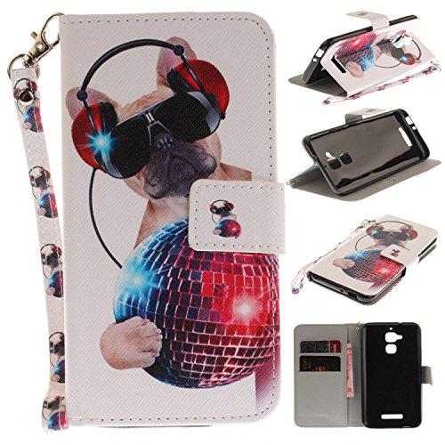 Guran® Custodia in Pelle Flip Cover per ASUS ZenFone 3 Max ZC520TL Smartphone Avere Portafoglio e Funzione Stent Guscio Protettivo - Cane di Moda
