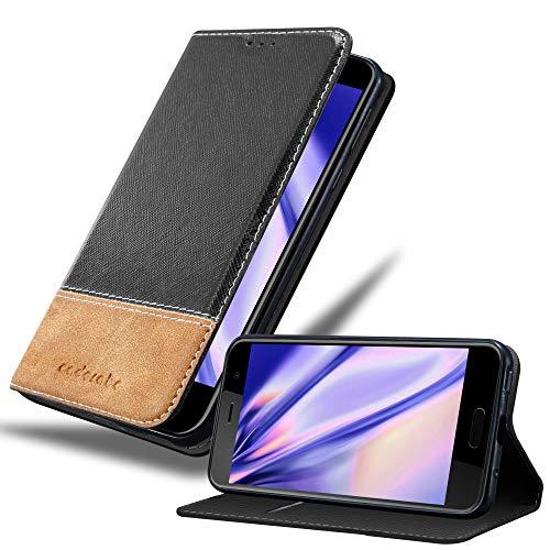Cadorabo Hülle für HTC U Play in SCHWARZ BRAUN – Handyhülle mit Magnetverschluss, Standfunktion & Kartenfach – Hülle Cover Schutzhülle Etui Tasche Book Klapp Style