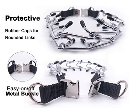 Dog Prong Collar, Pinch Training Collar for Small Medium Large Dogs with Stainless Steel Links, Comfort Tips and Quick Release Buckle
