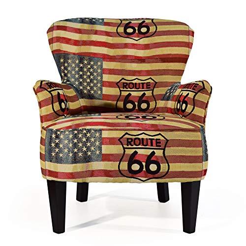 Cocoon Design – Sessel Crapaud Bogota 100 Stoff bedruckt Route 66 – handgefertigt