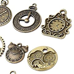 18 Pcs/set Clock Pendant Charms, Multicolored Mixed Antique Bronze Watch Gear Cog Wheel Charms Steampunk Clock Pendant DIY Jewelry Making Accessories #1
