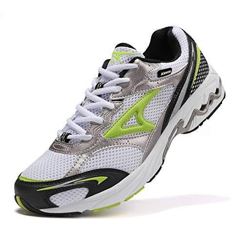 ASHION Herren Schuhe Sneakers Sportschuhe Outdoorschuhe Laufschuhe Joggingschuhe Turnschuhe Walkingschuhe Atmungsaktiv Antischock Komfort rutschfest Weiß 41 EU