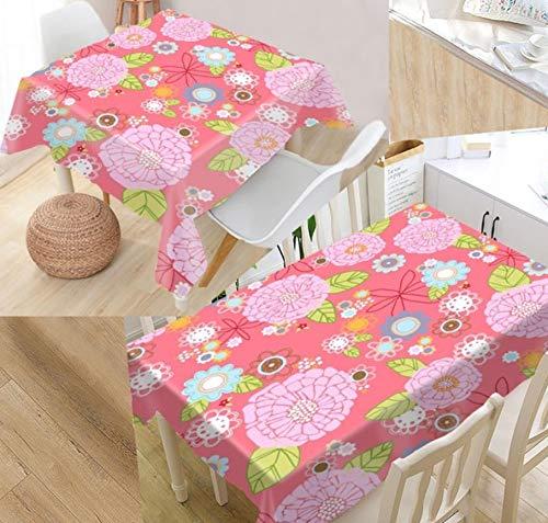 Nappe Polyester Rectangulaire Motif Floral en Plein Air Jardin Décoration Table Couvrir Une Pièce140x240cm