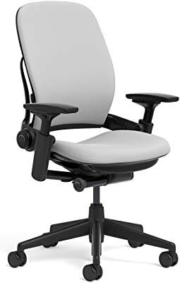 Steelcase Leap Ergonomic Office Chair with Flexible Back   Adjustable Lumbar, Seat, and Arms   Black Frame and Cogent Connect Nickel Fabric