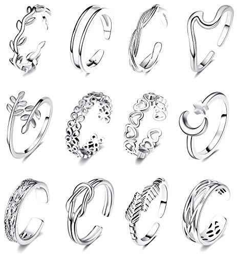 KOHOTA Juego de 12 anillos ajustables para mujer, para verano, playa, punta abierta, diseño de flecha, cola de flecha, anillos para pies descalzos