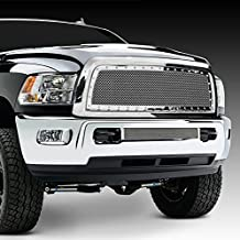 Razer Auto Triple Chrome Plated Rivet Studded Frame Mesh Grille Complete Factory Replacement Grille Shell for 10-17 Dodge RAM Trucks 2500+3500+Heavy Duty