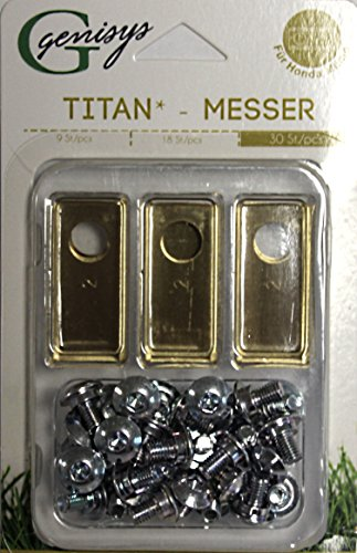 Genisys 30 Titan Ersatz Messer Klingen kompatibel für Honda ® Miimo ® (LongLife - 0,75mm) NEU + 30 Schrauben [DIN EN 50636 geprüft]