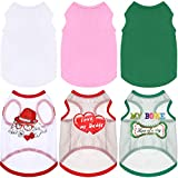 6 Pieces Dog Shirts Pet Puppy Mesh Clothes Breathable Dog Plain T-Shirts Soft Puppy Summer Shirts Pet Print Clothes Outfit for Small Medium Dogs Cats (Medium)