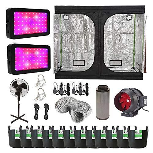 Hydroponic 600w LED Grow Tent Kit with 2.4x1.2x2m Grow Tent/Twin Speed Extraction Unit / 2 x Dual Spectrum Grow Lights