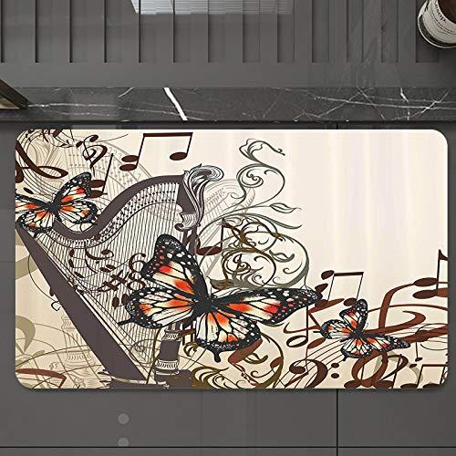 Alfombrilla de Baño Antideslizantes de 50X80 cm,Conjunto de mariposas, arpa, adorno y tema d, Tapete para el Piso Lavable a Máquina con Microfibras Suaves Absorbentes de Agua para Bañera, Ducha y Baño