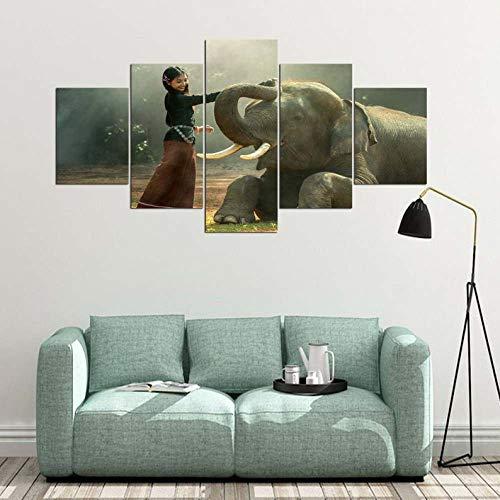 GHYTR Elefante Amigo Selva Mascota Vida Silvestre Cuadro sobre Impresión Lienzo 5 Piezas Marco 150X80Cm HD Arte De Pared Modulares Sala De Estar Dormitorios Decoración para El Hogar Póster Regalo