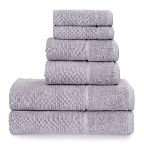 Welhome Anderson Luxurious 100% Turkish Cotton 6 Piece Towel Set | Lilac | Rib Textured | Thick & Plush | Soft & Absorbent | Hotel & Spa Bathroom Towels | 600 GSM | 2 Bath 2 Hand 2 Wash Towels