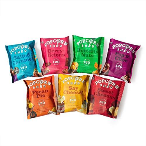 Popcorn Shed – 7 Sabores Originales de Palomitas de Maíz, Premium Snacks Naturales, sin Gluten y Vegetarianos, El regalo perfecto de palomitas de maíz, Perfecto para Noches de Cine (7 bolsas)