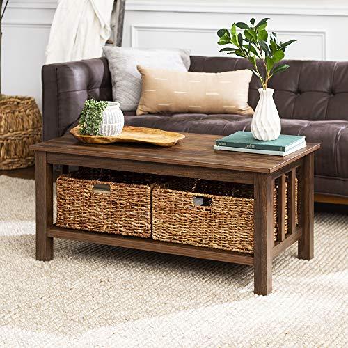 Walker Edison Alayna Mission Style Two Tier Coffee Table with Rattan Storage Baskets, 40 Inch, Dark Walnut