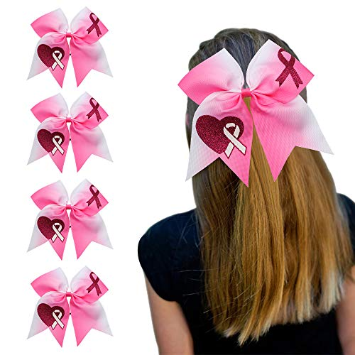 """7"""" Jumbo Cheerleading Bow for Girls Pink Hair Cheer Bow Breast Cancer Awareness Sign Ponytail Holder 5pcs Large Softball Bows Elastic Hair Tie Rubber Band"""
