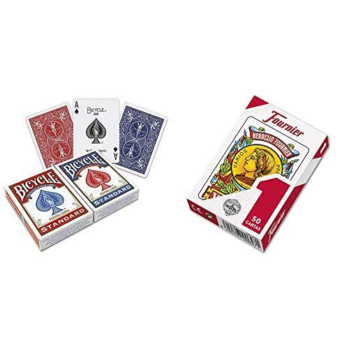 Bicycle US Playing Card 60808 - Lote de Barajas inglesas (2 x 54 Cartas) + Fournier F20991 - Baraja española Nº 1, 50 Cartas, Surtido: Colores aleatorios