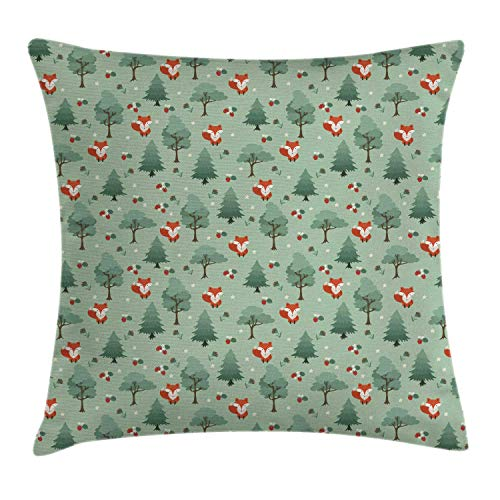 SSHELEY Forest Throw Pillow Cushion Cover, Foxes in The Woodland Trees Strawberries Nursery Themed Childish Nature Pillow Case