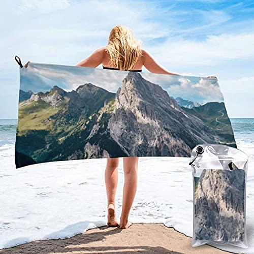 Toalla de playa de microfibra para acampar al aire libre, toalla de viaje de secado rápido, toalla de deporte Rocky Mountain Peak Super absorbente, compacta, ligera, 80 x 160 cm