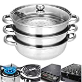 3-Tier Vegetable Steamer - 25cm, Stainless Steel Pan w/Tempered Glass Lid | Cooking