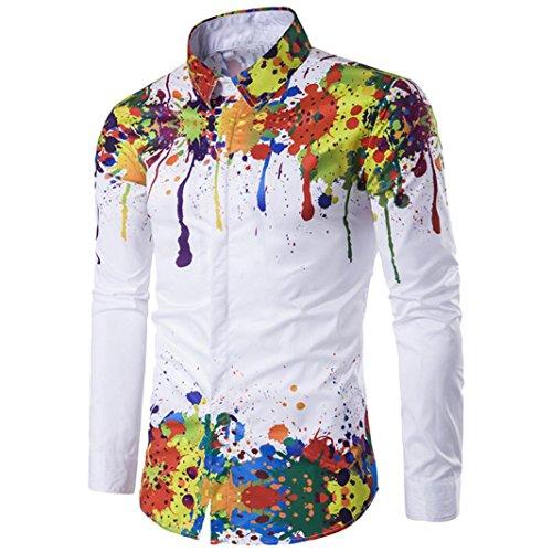 manadlian T-Shirt Hommes,Chemise Homme, Hommes Chemisier Plus La Taille Chemise À Manches Longues 3D Splash Encre Imprimé Chemises Casual (Multicolore, XL)