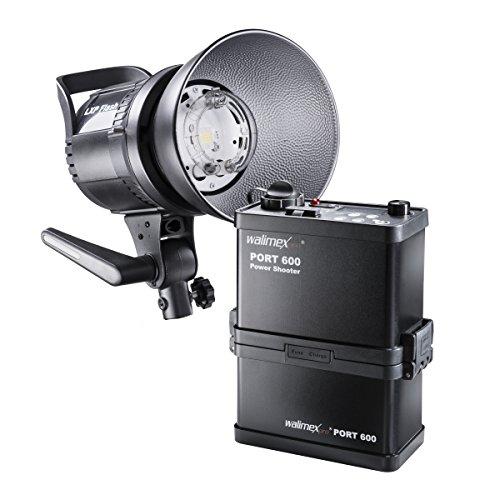 Walimex pro Power Shooter 600 Kofferset – Set aus LXP Blitz mit LED Einstelllicht, PowerShooter 600 mit Akku (8.000 mAh), Ladegerät und 16-Kanal-Fernauslöser, für Studio und Outdoor