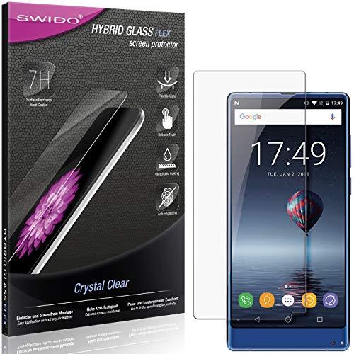 SWIDO Panzerglas Schutzfolie kompatibel mit Oukitel Mix 2 Bildschirmschutz-Folie & Glas = biegsames HYBRIDGLAS, splitterfrei, Anti-Fingerprint KLAR - HD-Clear