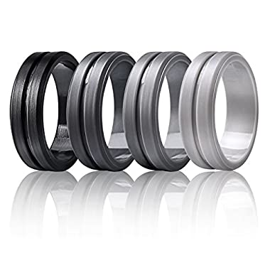 Egnaro Silicone Wedding Rings by Marrimi,Premium Silicone Wedding Bands for Men,Flexible,Skin Safe &Comfortable