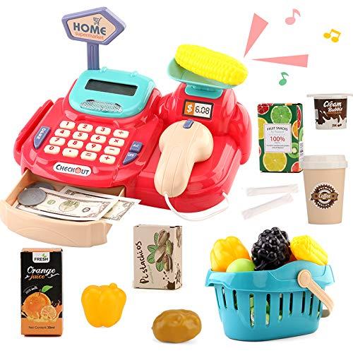 Sotodik 26 Stück Kasse Kinder Rollenspiel Supermarkt Spielzeug Kaufladen Kaufmannsladen Zubehör Registrierkasse Supermarktkasse mit Geld,Lebensmittel Geschenk für Kinder ab 3 4 5 Jahren (Rot)