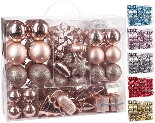 BRUBAKER 77-Piece Christmas Tree Ornaments - Shatterproof - Rose Gold / Silver