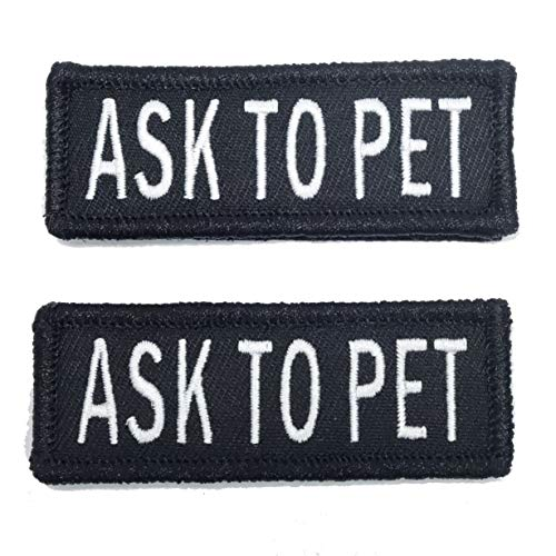 Leashboss Ask to Pet Patches for Vest - Embroidered 2 Pack - Hook and Loop Both Sides - 3 Sizes (Ask to Pet, Small - 1 x 2.75 Inch)
