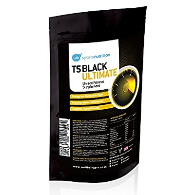 T5 Black Ultimate 100% MONEYBACK GUARANTEE - Hardcore Fat Burner & Weight Loss Pills for Men and Women - Diet Pills That Work Fast - Strong Slimming Tablets & Appetite Suppressant - Training Supplement with Added Energy Boost from WellBeing Pro