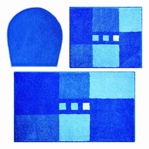 Linea Due Alfombra de Baño 3D, Ultra Suave y Absorbente, Antideslizante, 5 Años de Garantía, MERKUR, Set de 3 Piezas Cubierta de WC, 40x50+50x80 cm, Azul