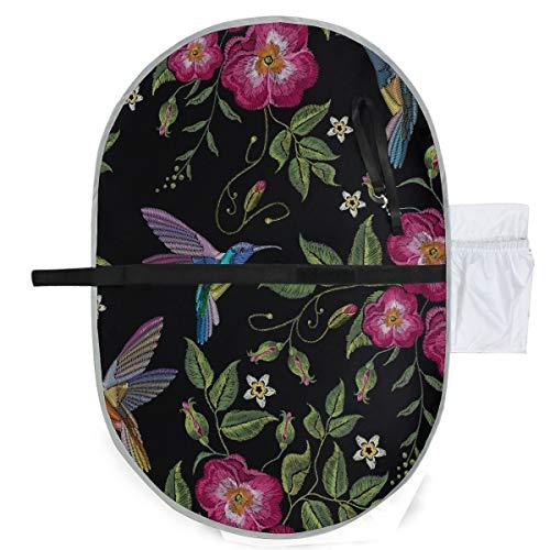 Stickerei Kolibri mit herrlichen Blumen tragbare Wickelauflage Windeln Matte 27 x 10 Zoll wasserdicht faltbare Matte Baby tragbare Wickelstation Wickelauflage