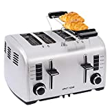 4 Slice Toaster Extra Wide Slot,Small Toaster,Wide Slot Toaster,Stainless Steel Toaster,Toaster Bagel,4 Slice Toasters Best Rated Prime for Bread Waffles Small Retro Toaster Oven