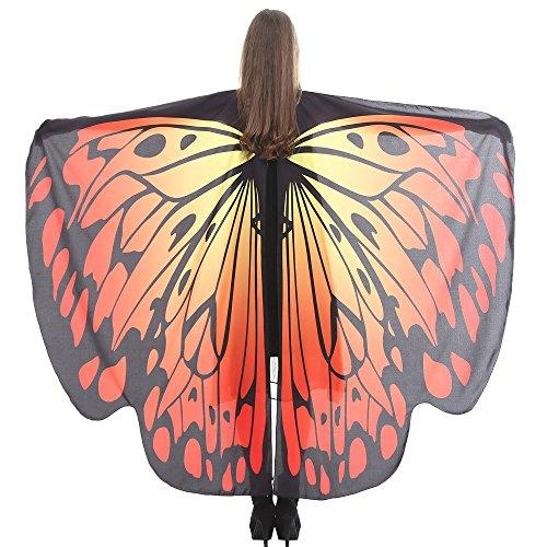 VEMOW Heißer Verkauf Damen Cosplay Party 168 * 135 CM Schmetterlingsflügel Schal Schals Damen Nymphe Pixie Poncho karneval Kostüm Zubehör(X2-Orange, 168 * 135CM)