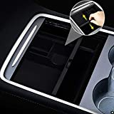 XTAUTO Center Console Organizer Tray Fit for 2021 Tesla Model 3/Y Armrest Storage Box Cubby Drawer Container 2021 Tesla Model 3 Model Y Accessories Interior Parts ABS Material