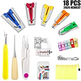IDJWVU Fabric Bias Tape Makers Kit of 5 Sizes 6MM 9MM 12MM 18MM 25MM DIY Sewing Accessories Tools Set with Press Foot for Sewing/Quilt Binding(18PCS)