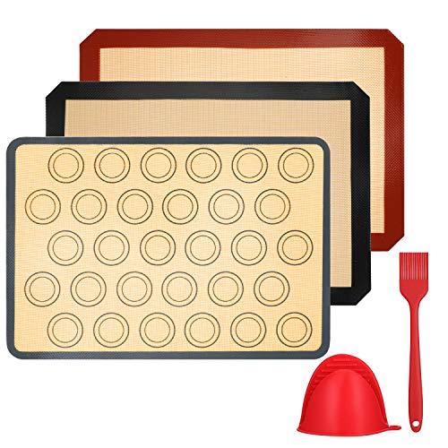 Vemingo Silikon-Backmatte, 3-teiliges BPA-freies Antihaft-Backblech aus Leinwand, Küchenhandschuh und Silikonbürste, wiederverwendbar, leicht waschbar