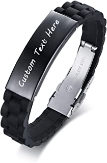 Custom Engraved Name Silicone Stainless Steel ID Tag Bracelet Personalized Jewelry Gift for Him