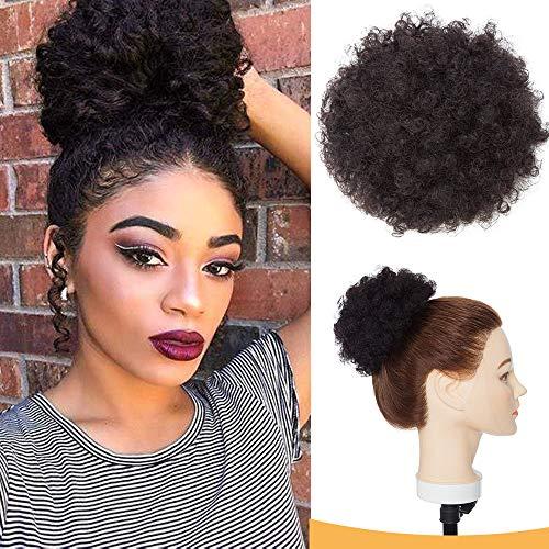 Chignon Afro Ricci Capelli Veri #1B Nero Naturale Chignon Elastico Piccolo Capelli Umani 13cm Bun Updo Messy Hair Scrunchies 35g