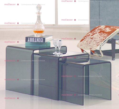interiorsonline Smoked Glass Nest 3 Tables