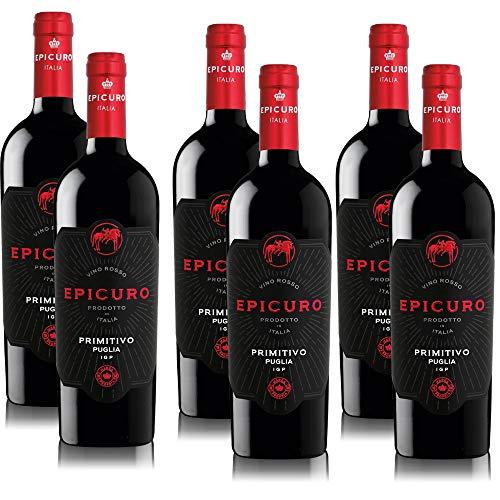 6 Flaschen Epicuro Primitivo Puglia IGP purpurroter Rotwein aus Italien im sortenreinen Paket (6 x 0,75 l)