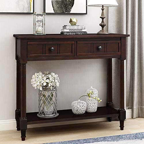 P PURLOVE Console Table Sideboard Wooden Sofa Table with 2 Drawers and Bottom Shelf for Bedroom (Dark Espresso)
