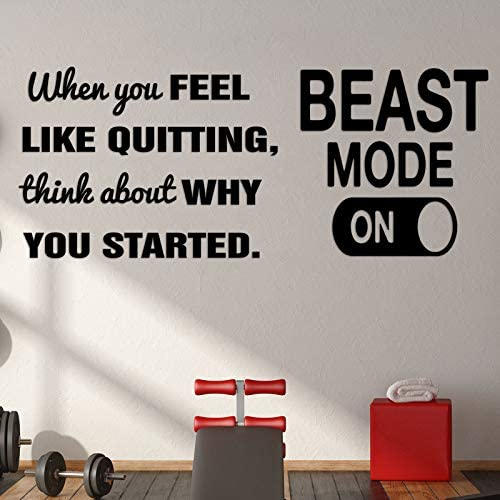 Nezyo 2 Pieces Vinyl Wall Art Decal Beast Mode Positive Quote Sticker When You Feel Like Quitting product image